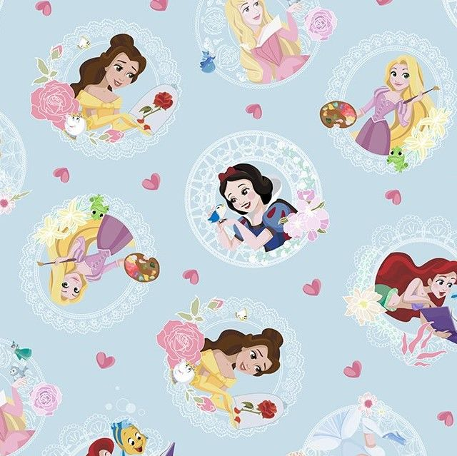 Little Johnny Cotton Fabric Princess Love Hearts