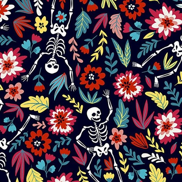 Little Johnny Cotton Fabric Dancing Skeleton
