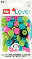 Prym 12mm smiley face plastic snaps, pink-green-turq mix