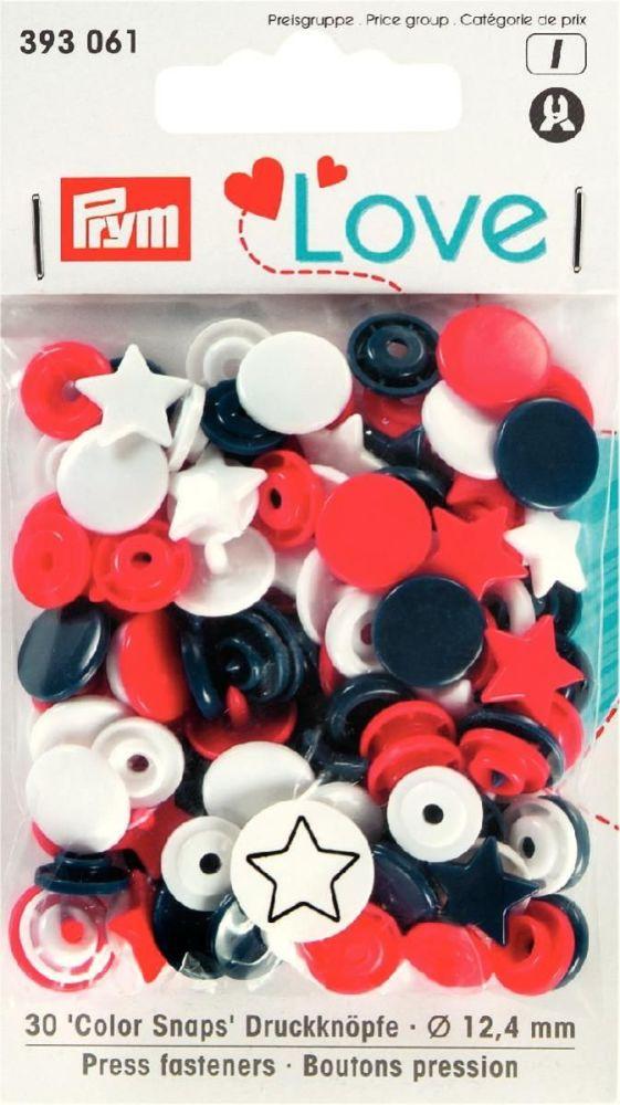 Prym 12mm star shape plastic snaps, red-white-navy mix