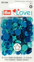 Prym 12mm Star shape plastic snaps, blue-turq mix