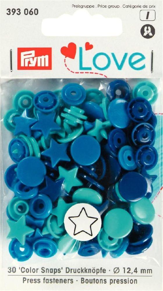 Prym 12mm Star shape plastic snaps, blue-turq mix