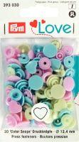 Prym 12mm heart shape plastic snaps, pink-blue-green