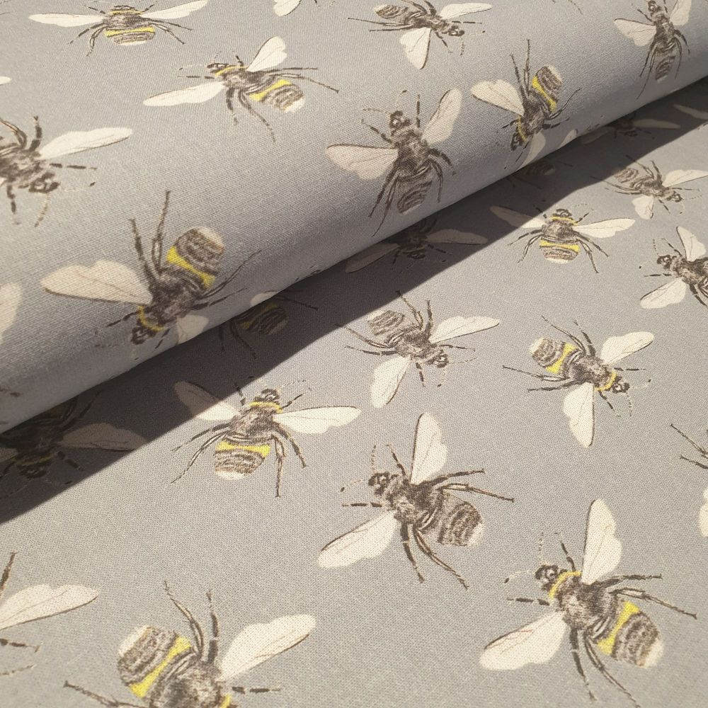 Little Johnny Cotton Fabric Bees Grey