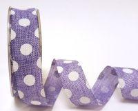 Burlap Ribbon Purple & White Polka Dot 25mm