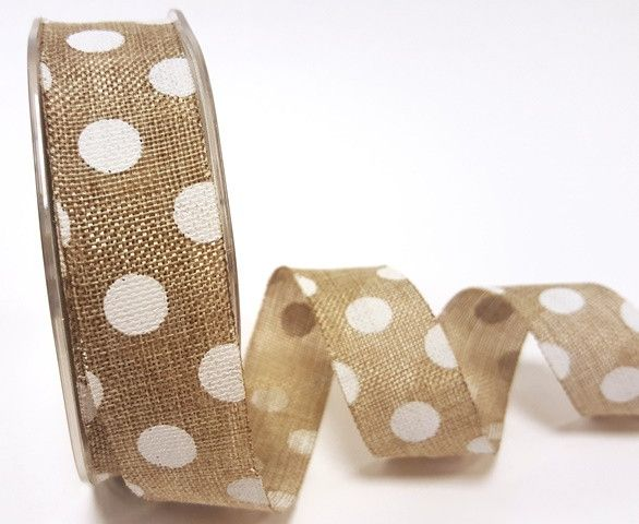 Burlap Natural Polka dot Ribbon 25mm