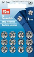 Prym Sew-On Snap Fasteners brass silver col 11 mm