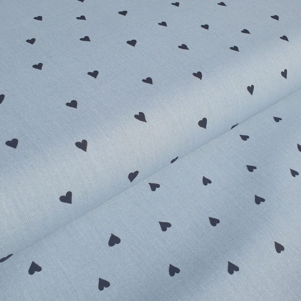 Cotton Poplin Fabric Hearts Black on Blue
