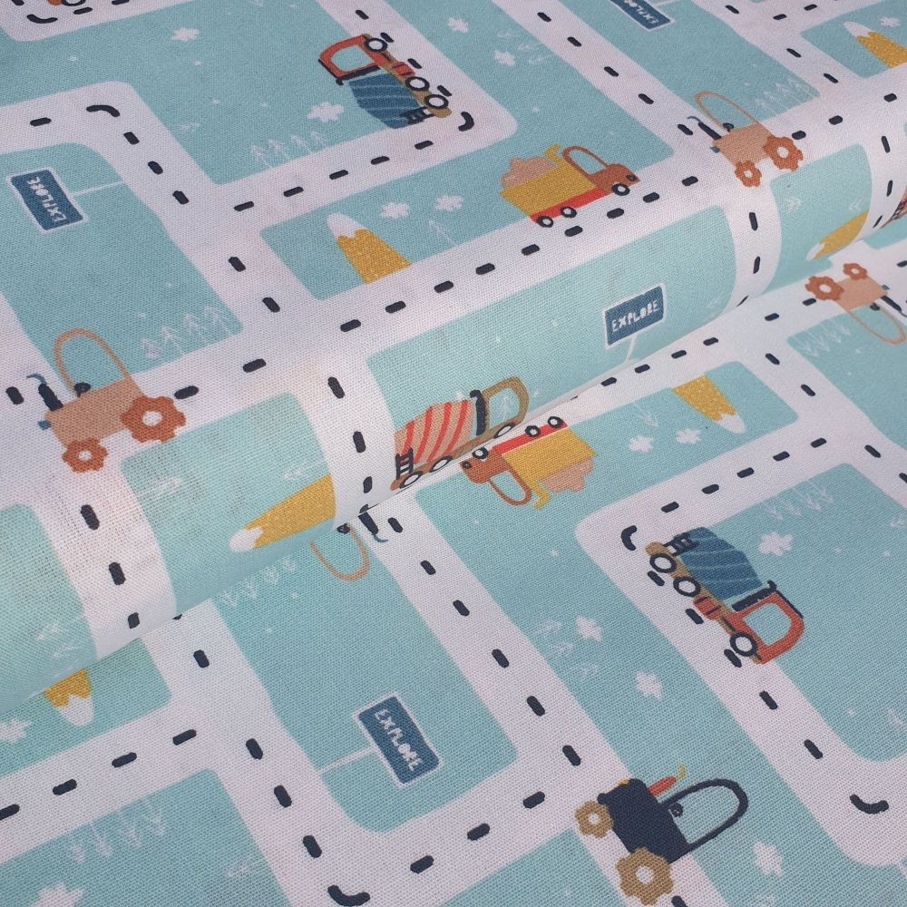 Cotton Poplin Fabric On The Road Cars