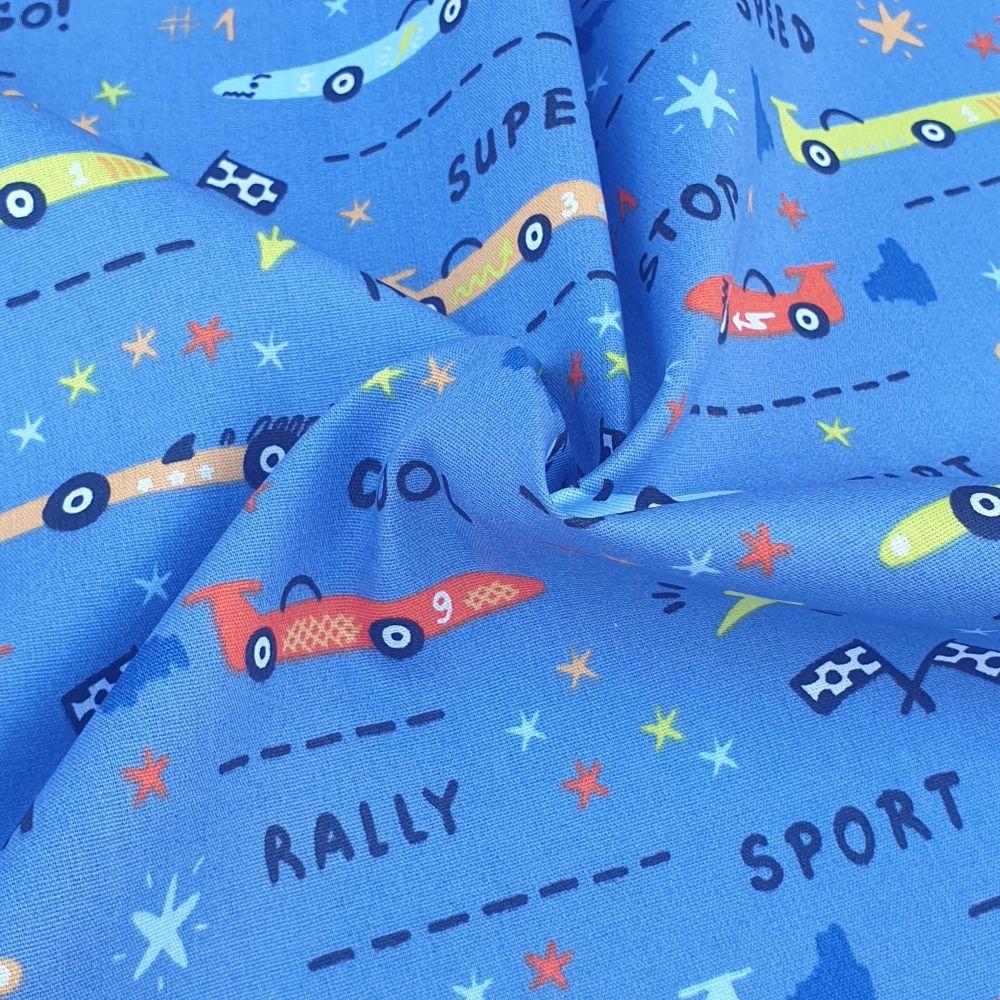 Cotton Poplin Fabric GoGoGo Race Cars