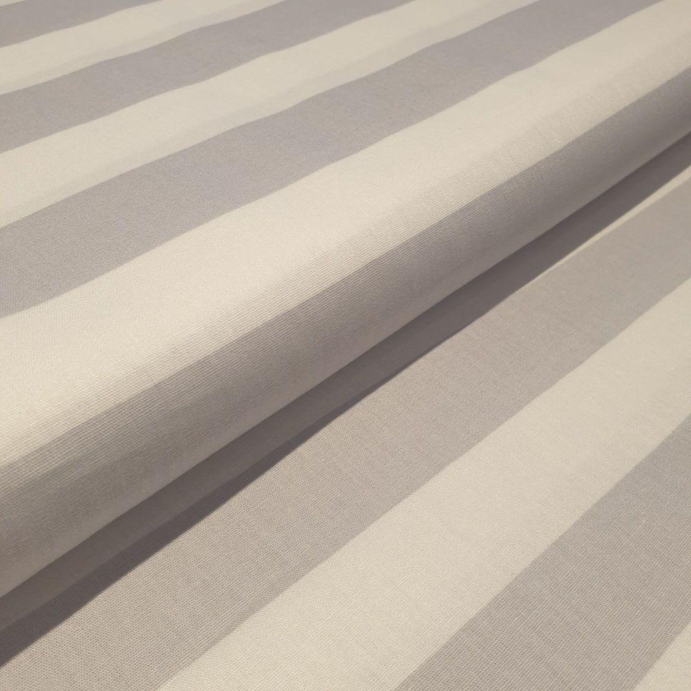 Cotton Poplin Fabric Stripes Grey & White