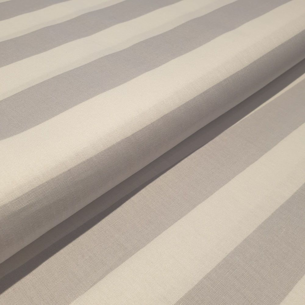 Cotton Poplin Fabric Stripes Grey & White