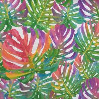Cotton Canvas Tropical Leaves Summer