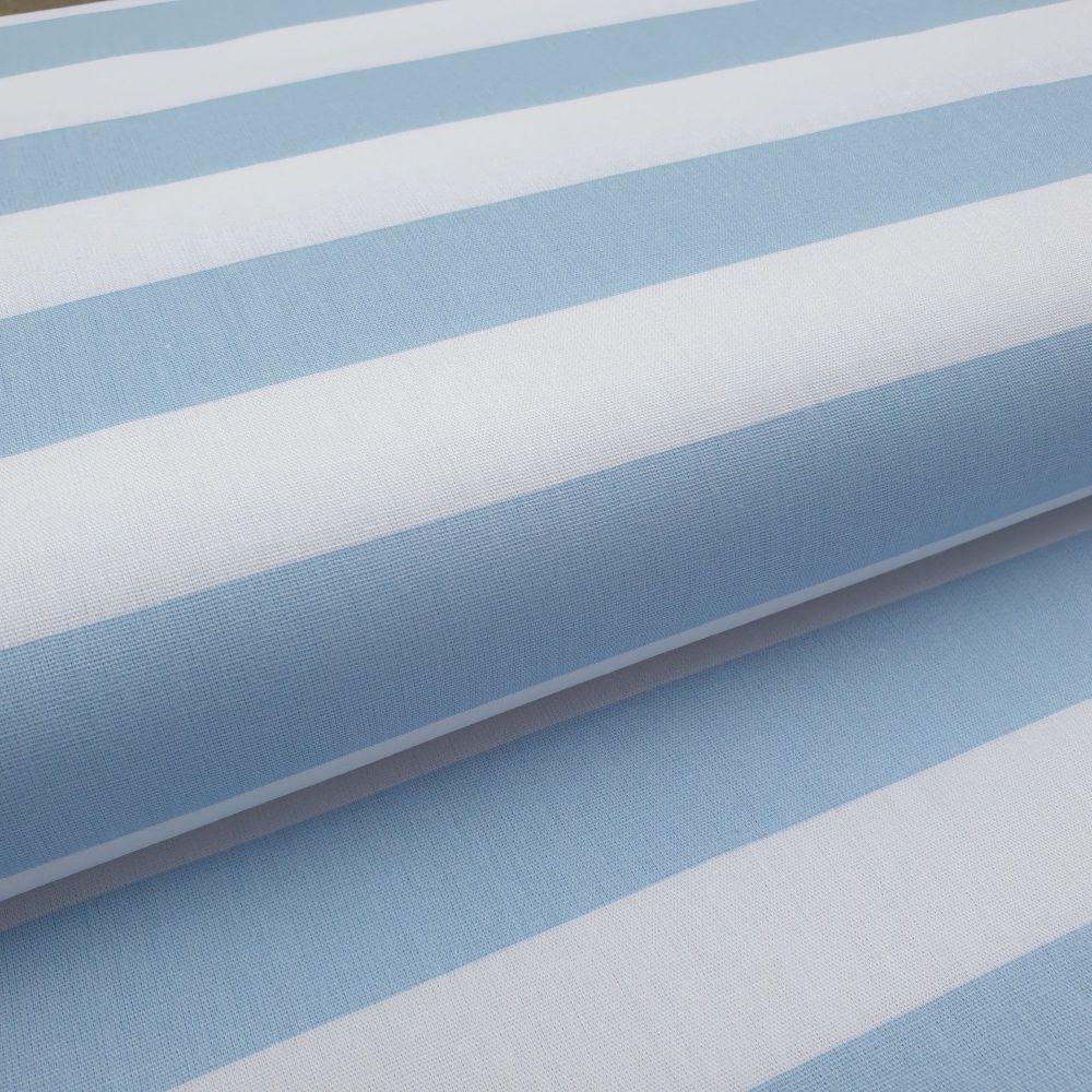 Cotton Poplin Stripes Blue On White