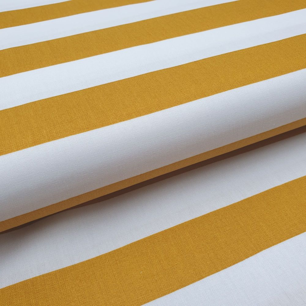 Cotton Poplin Stripes Mustard on White