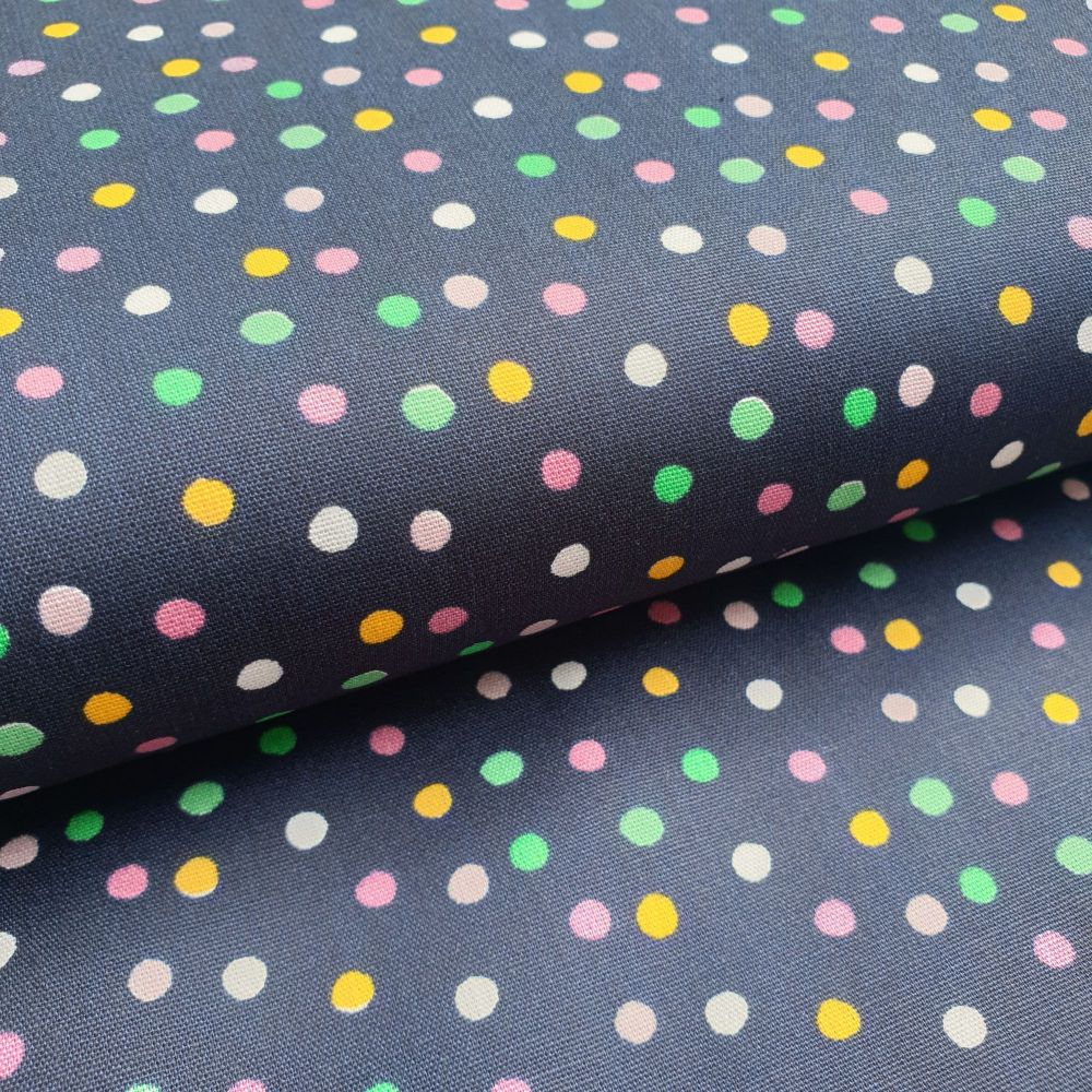 Cotton Poplin Polka Dots Navy