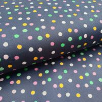 Cotton Poplin Happy Felling Polka Dots Navy
