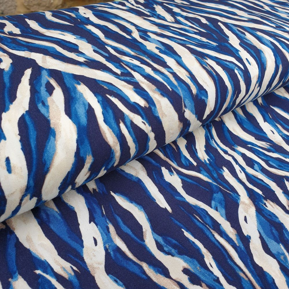 Viscose Fabric Waves Blue