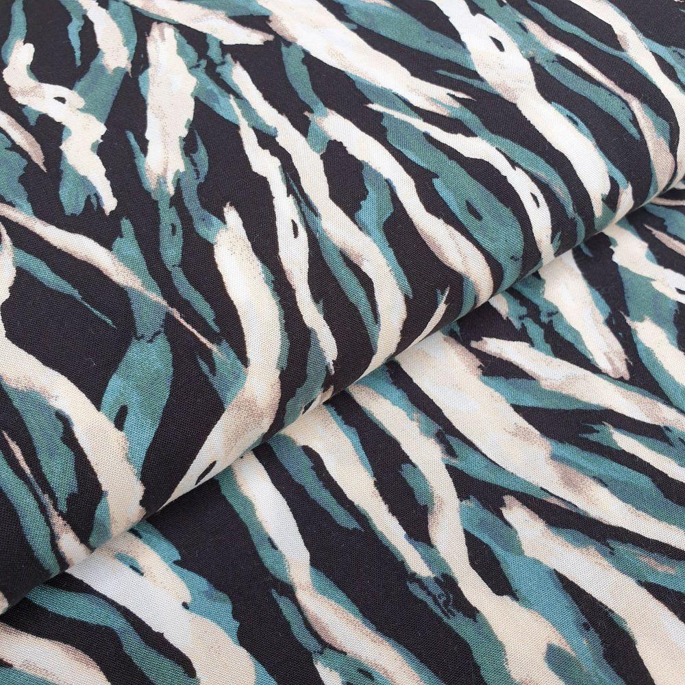 Viscose Fabric Waves Green