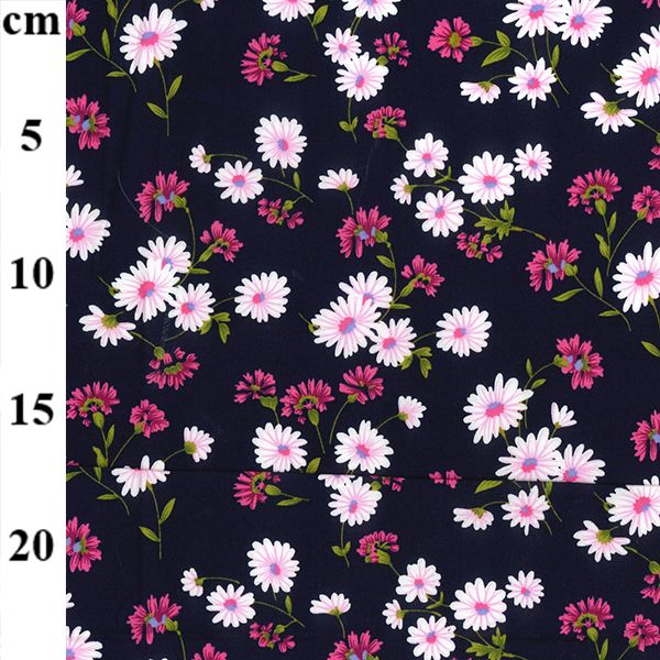 Daisy On Navy Cotton Poplin Fabric