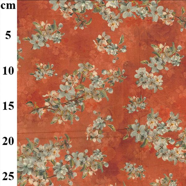 Rust Floral Cotton Lawn Fabric