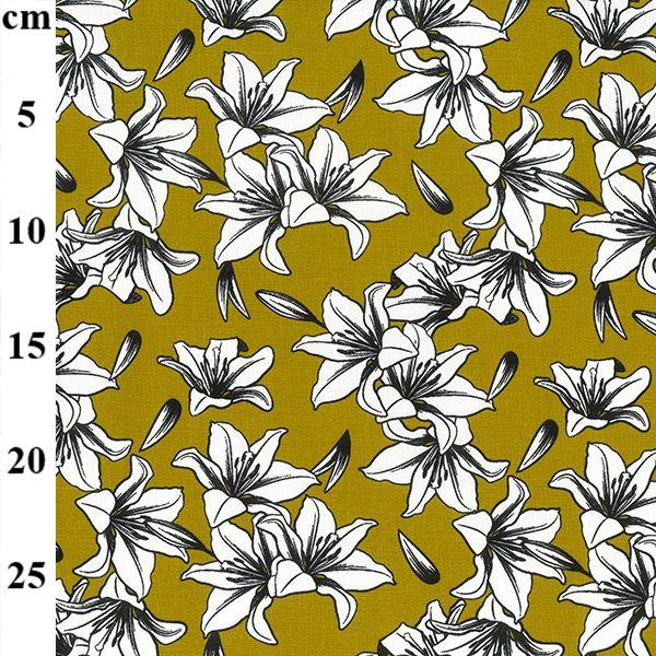 Ochre Florals Cotton Canvas Fabric