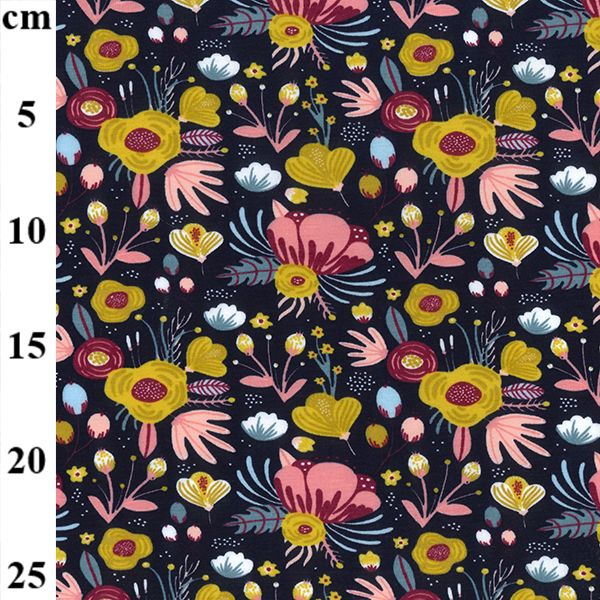 Organic Navy Floral Cotton Jersey Fabric