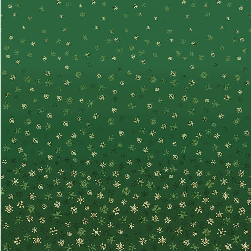Makower Ombre Cotton Fabric Snowflake Green