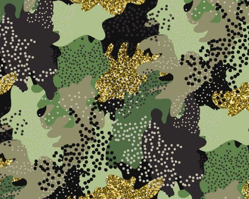 Little Johnny Cotton Fabric Glitter Camouflage