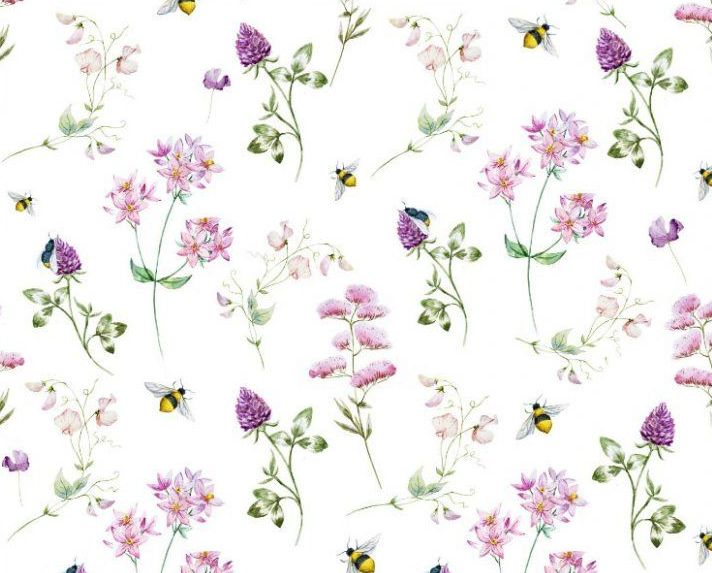 Little Johnny Cotton Fabric Floral Bees