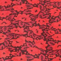 Needlecord Fabric  Red Florals On Black