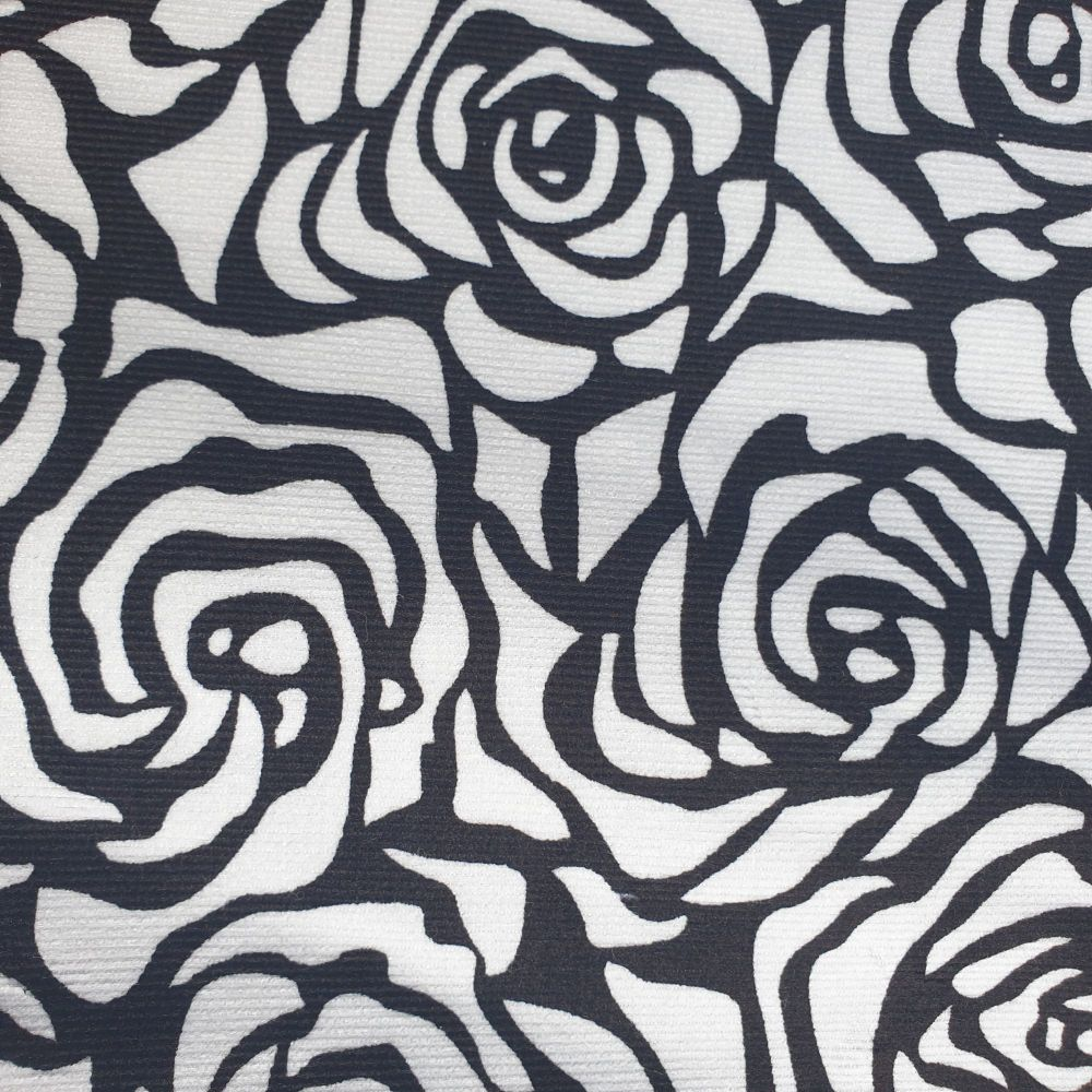 Needlecord Fabric Black Roses