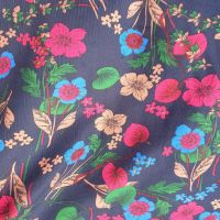 Needlecord Fabric Navy Florals