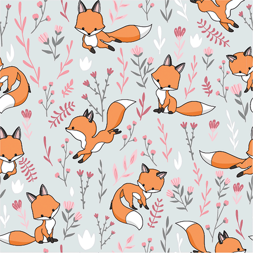 Cotton Jersey Foxes Grey