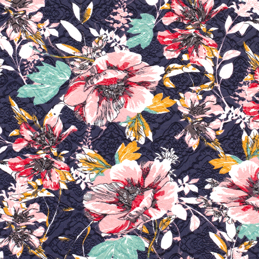 Bengalin Fabric Florals On Navy