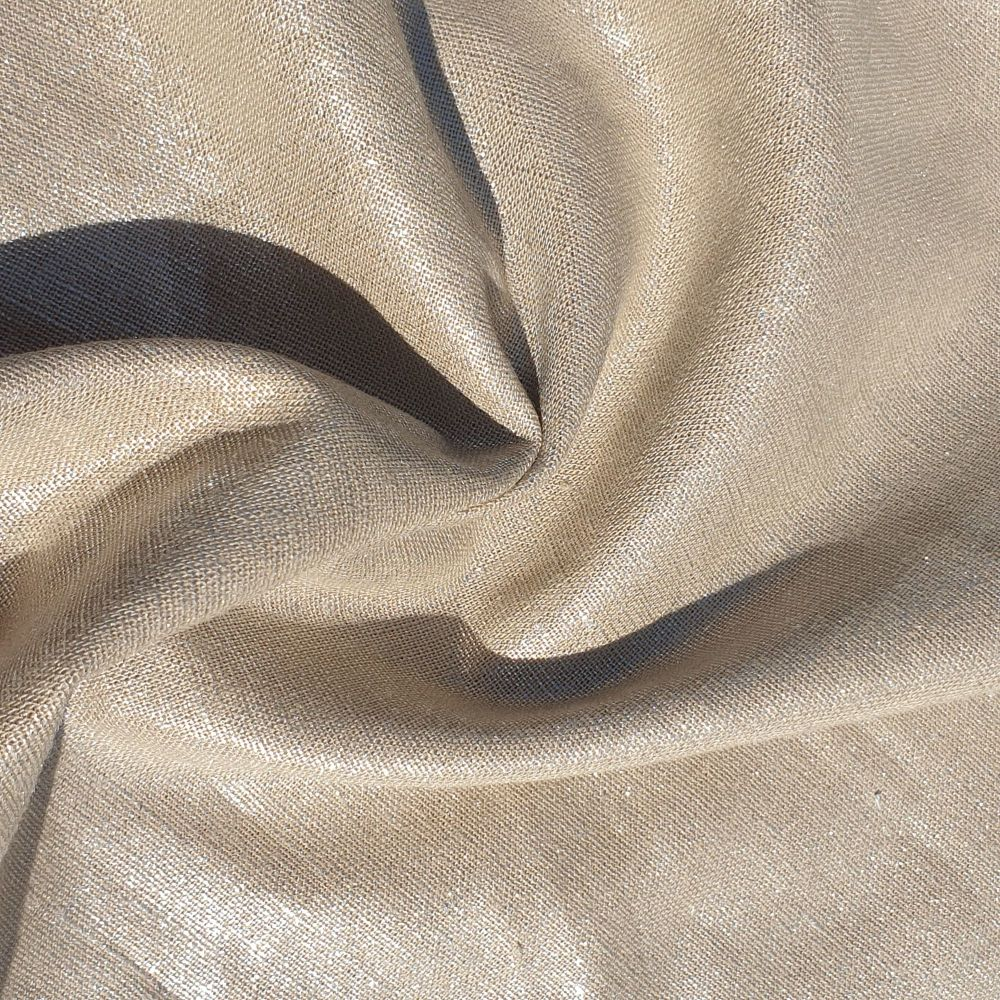 Metallic Linen Viscose Fabric Beige