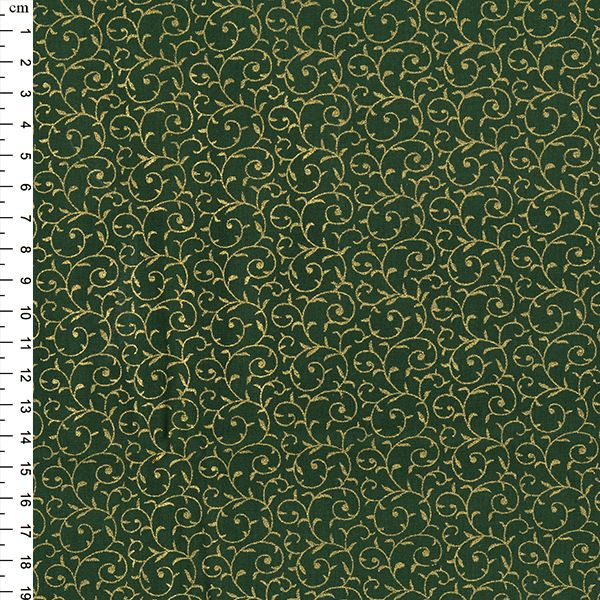 Christmas Metallic Foil Print Cotton Fabric Swirls Green