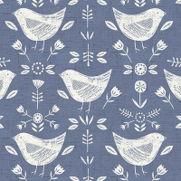 Narvic Cotton Canvas Fabric Birds