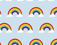 Little Johnny Cotton Fabric Rainbow Clouds