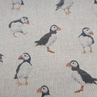 Pop Art Linen Look Puffins Cotton Canvas Fabric