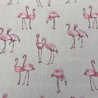 Pop Art Linen Look Tropical Leaves Flamingo