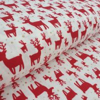 Christmas Cotton Fabric Reindeer White