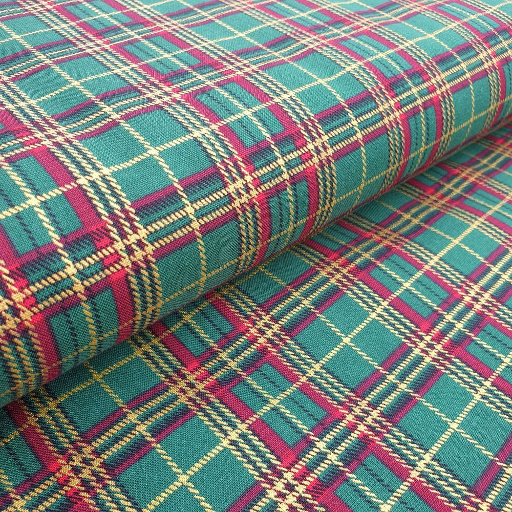 Christmas Cotton Fabric Tartan Green
