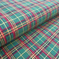 Christmas Cotton Fabric Tartan Green
