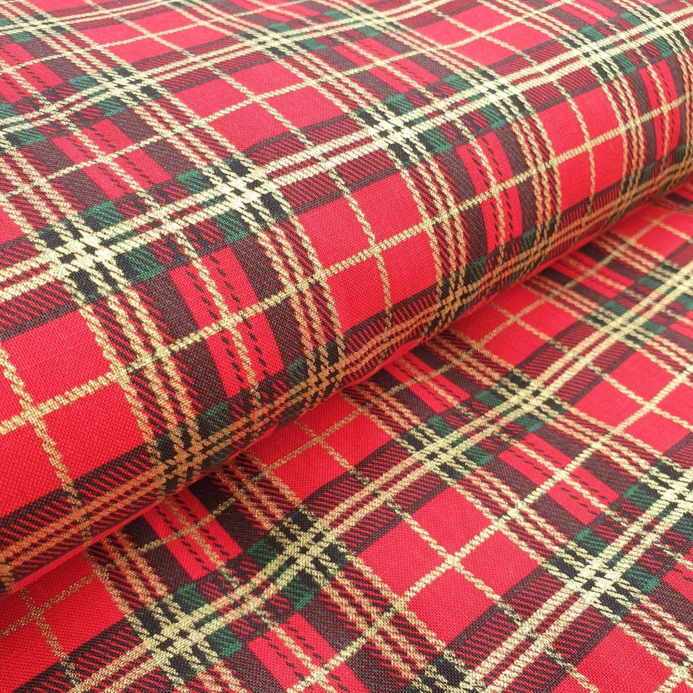 Christmas Cotton Fabric Tartan Red