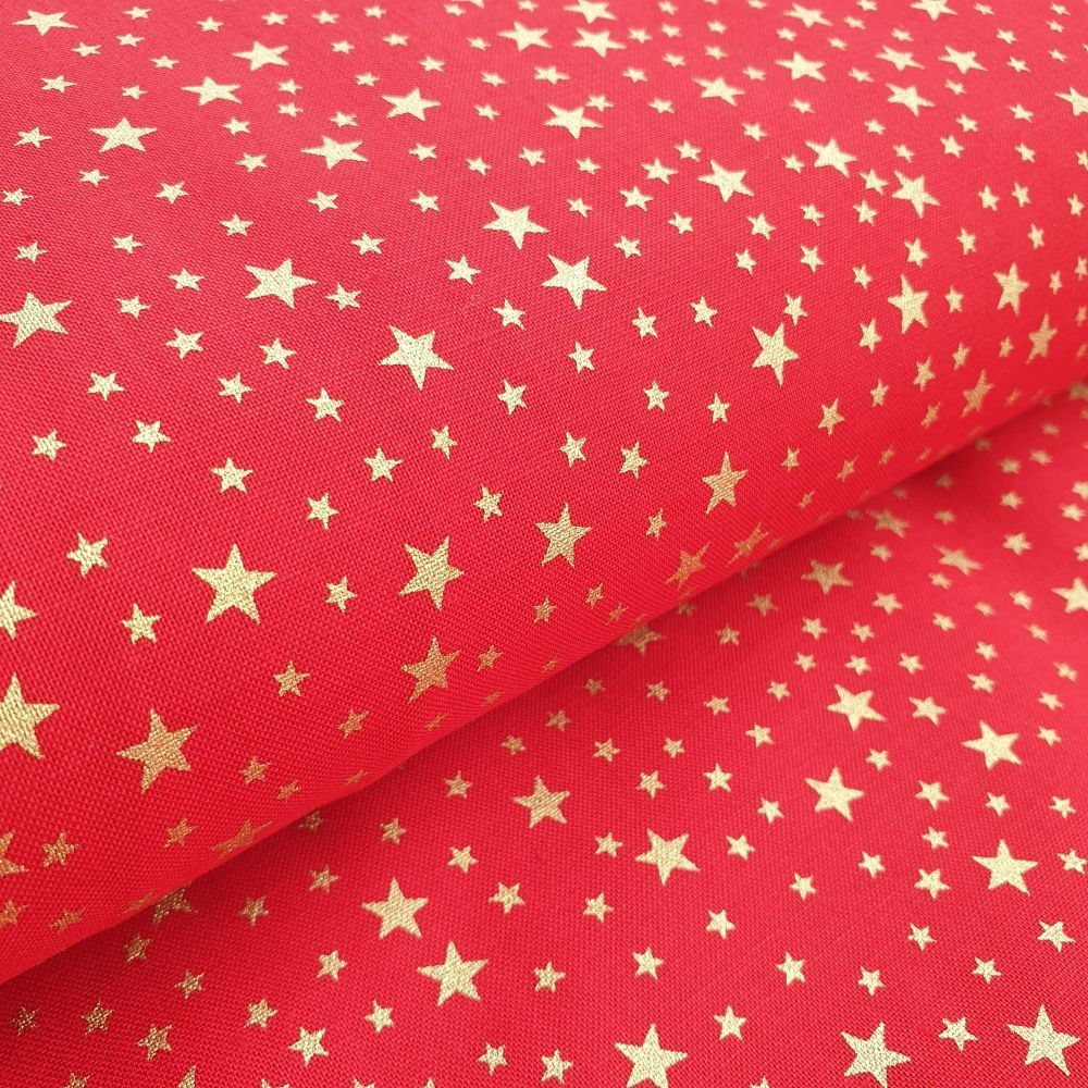 Christmas Cotton Fabric Red Gold Stars