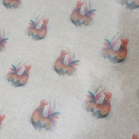Oilcloth Linen Look All Over Rooster Fabric