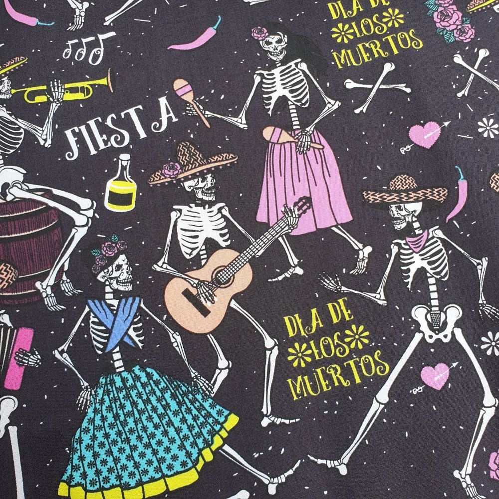 Halloween Cotton Fabric Dancing Skeletons