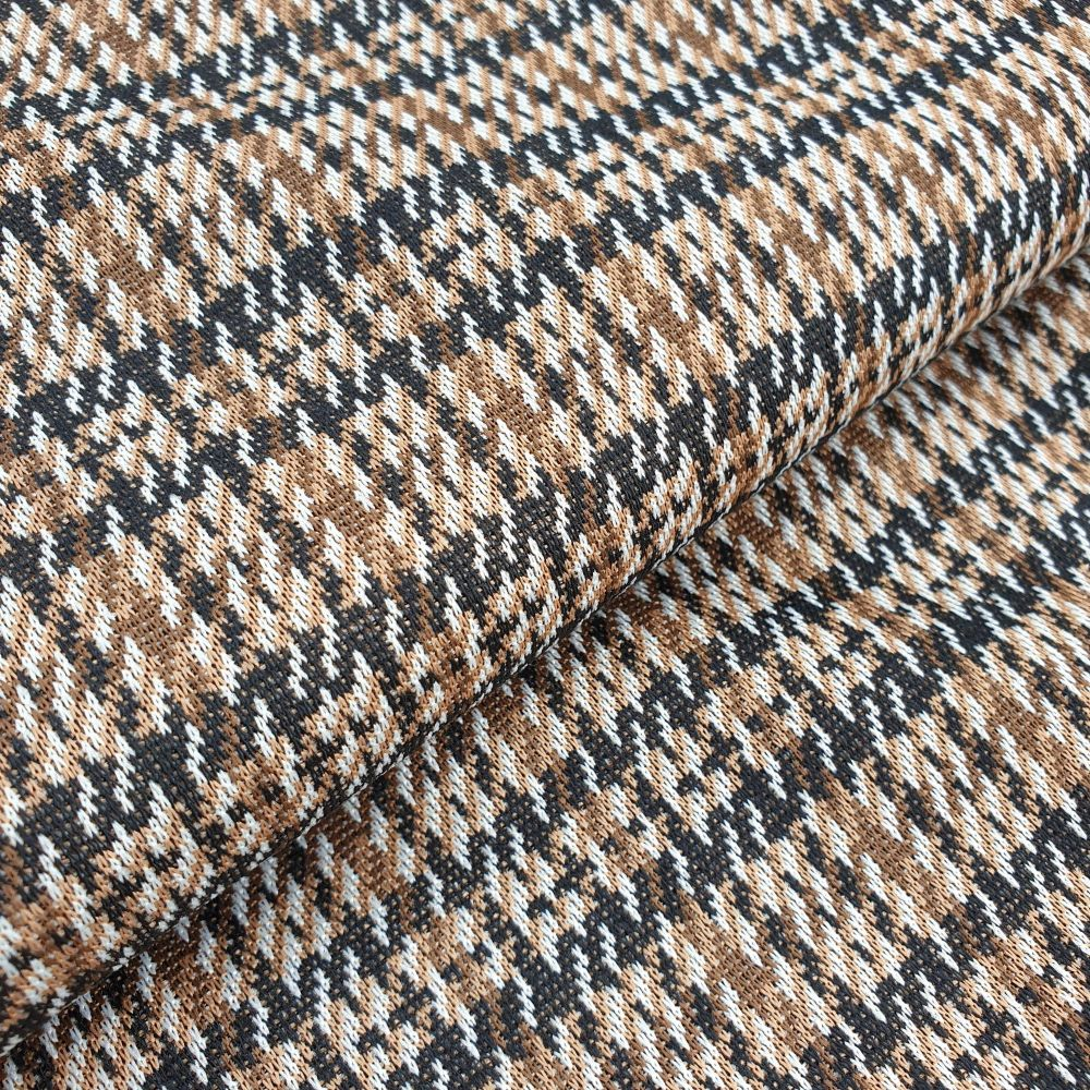 Polyester Jersey Tweed Look Brown