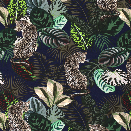 Cotton Jersey Fabric Jungle Tigers